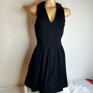 Aqua black flower dress size XS
